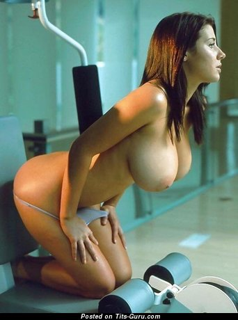 Pretty Female with Fascinating Bare Sizable Titty is Doing Fitness (Sex Photo)