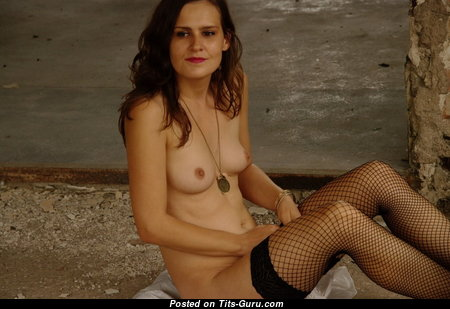 Katrin Wagner - Good-Looking Topless Lady with Enormous Nipples in Stockings (on Public Sex Wallpaper)