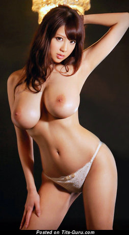 Image. Sexy nude asian brunette with big tots pic