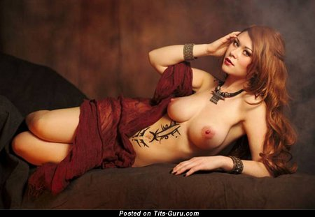 Amazing Brunette & Red Hair with Amazing Nude Natural Mid Size Jugs (Sex Photoshoot)