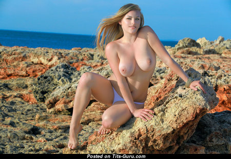 Hot Topless Blonde Babe in Panties on the Beach (Hd Porn Pix)