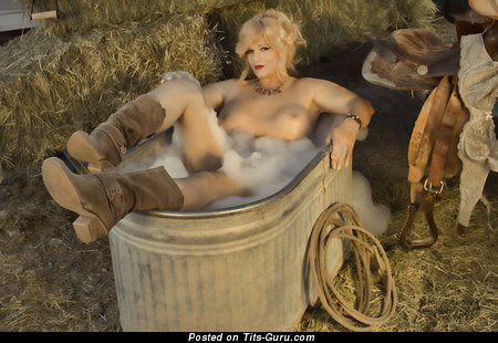 Abigail Rich - Cute Glamour Playboy Blonde Actress & Cowgirl with Splendid Bald Med Busts, Inverted Nipples, Sexy Legs (Porn Picture)