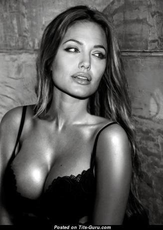 Angelina Jolie - Marvelous Non-Nude American Babe with Marvelous Natural Busts (Porn Photoshoot)