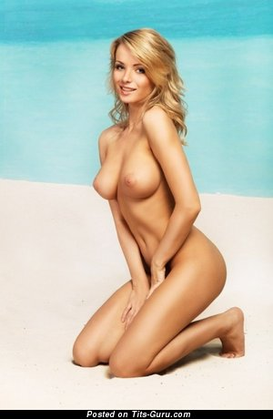 Image. Naked blonde with medium natural breast photo