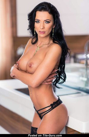 Shalina Devine - Appealing Romanian Brunette Pornstar with Beautiful Bare Normal Chest in Lingerie (Hd Xxx Image)