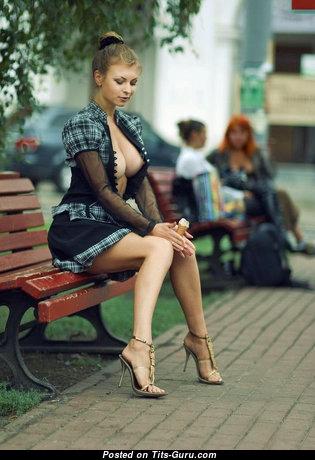 Elegant Brunette with Elegant Bare Tight Hooters in High Heels (18+ Wallpaper)