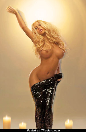 Aubrey O'Day - Nice Painted American Playboy Blonde Babe & Singer with Nice Nude Mid Size Titty (Hd Porn Photoshoot)