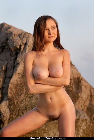 Sexy nude brunette with medium natural boob and big nipples image