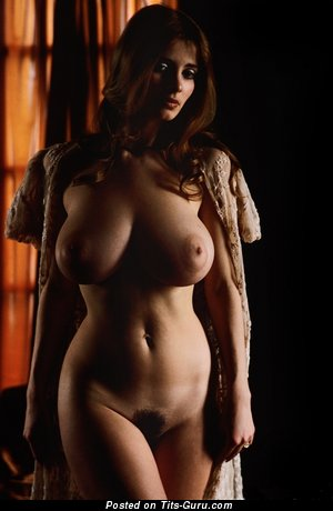 Nude awesome lady with medium natural tittys vintage