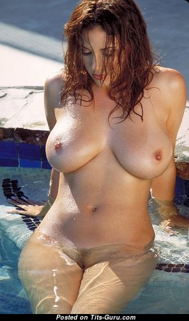 Gorgeous Babe with Gorgeous Defenseless Natural Tight Titty in the Pool (Sexual Photo)