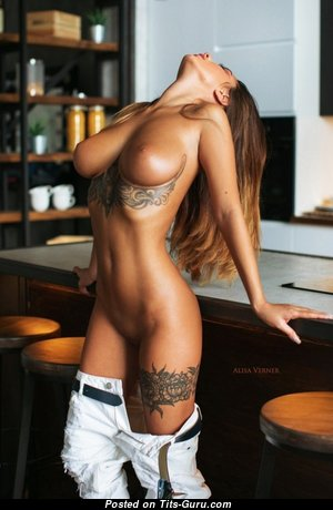 The Best Topless Brunette Babe with Tattoo is Undressing (Sex Photo)