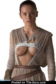 Daisy Ridley - Cute Topless British Brunette Actress & Babe with Cute Naked Real Normal Jugs & Big Nipples (18+ Image)