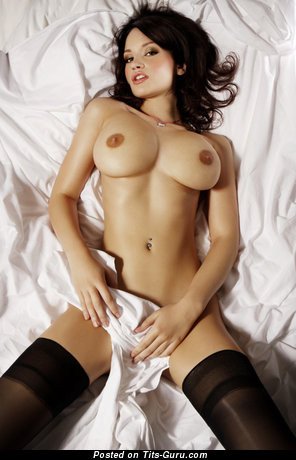 Sweet Topless Brunette with Sweet Open Substantial Titties in Stockings (Hd Porn Wallpaper)