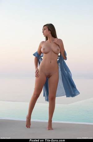 Conny Carter - sexy topless brunette photo