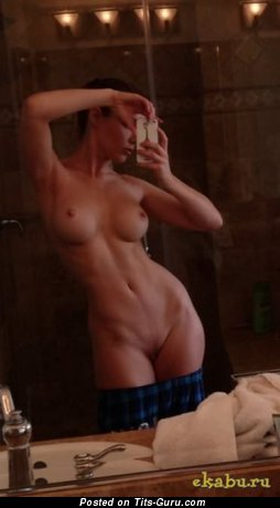 Image. Sexy topless amateur brunette with medium fake breast selfie