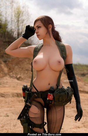 Gorgeous Topless Brunette Babe with Gorgeous Naked Firm Tittes (Cosplay 18+ Wallpaper)