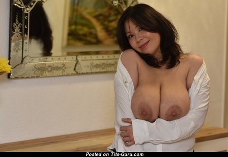 Sunny Chocolat - Stunning Glamour & Topless Vietnamese Brunette Mom with Stunning Exposed Real Great Tots & Inverted Nipples in High Heels is Undressing (Porn Wallpaper)