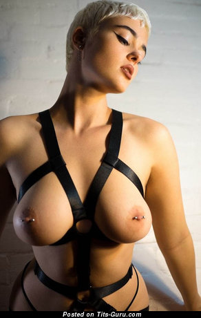 Image. Sexy nude blonde with small fake tits and piercing image