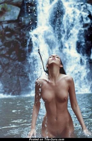 Image. Wet brunette with medium breast image