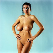 Brunette with huge natural breast image