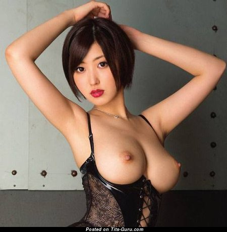 Gorgeous Topless Asian Brunette with Gorgeous Open Normal Tits (Sexual Picture)