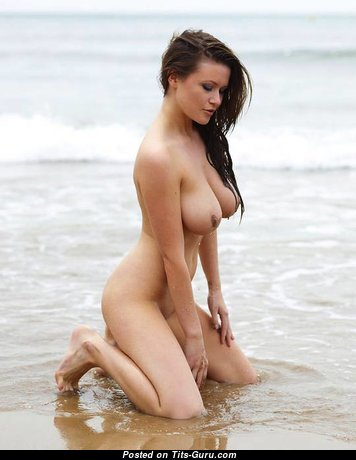 Superb Topless & Wet Brunette Babe with Marvelous Defenseless Natural Dd Size Jugs on the Beach (Sex Photo)