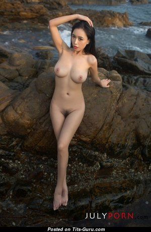 Christine - Sexy Wet & Topless Asian Blonde with Sexy Bald Round Fake Titty & Sexy Legs on the Beach (Porn Pix)