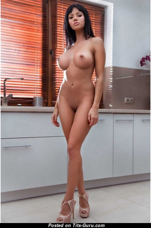 Pleasing Nude Brunette with Inverted Nipples, Sexy Legs in High Heels (Xxx Photo)