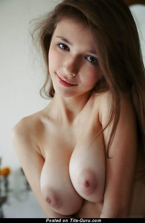 Yummy Topless Miss with Yummy Bare Real D Size Balloons (on Public Sexual Photo)