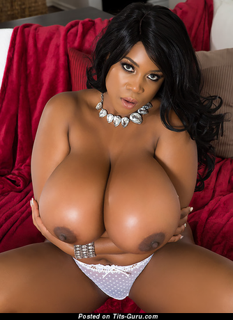 Maserati: nude ebony brunette with huge tits & big nipples pic