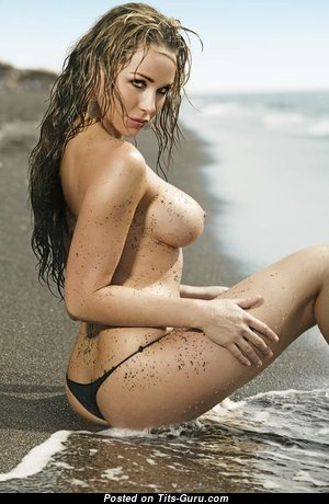Emily Scott - Sexy Topless Australian Playboy Blonde Mom with Inverted Nipples in Bikini & Panties on the Beach (Xxx Pic)