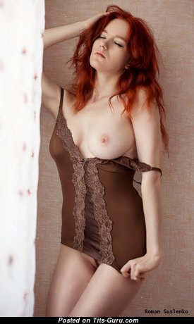 Elegant Topless & Glamour Red Hair with Giant Nipples is Undressing (Xxx Photoshoot)
