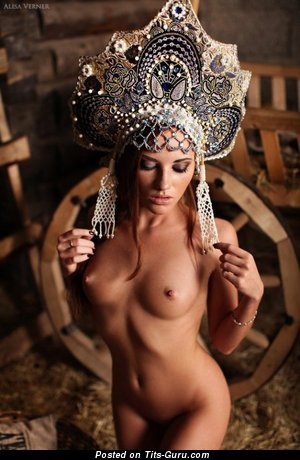 Image. Nude awesome lady with medium natural boobies pic