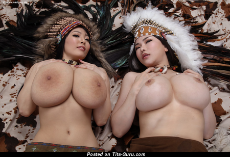 Hitomi Tanaka & Anri Okita - sexy topless asian brunette with huge boob and big nipples photo
