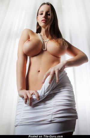 Stunning Topless Dish with Stunning Bald Round Fake H Size Jugs (Hd Porn Image)