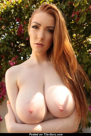 Alice Brookes - Perfect Glamour British Red Hair Babe with Magnificent Nude Real Mega Melons, Giant Nipples, Piercing (Sexual Photoshoot)