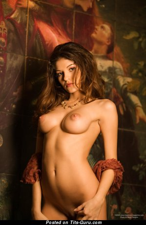 Andrea Marin - Gorgeous Brunette with Gorgeous Nude Natural Medium Knockers (Hd Sexual Wallpaper)