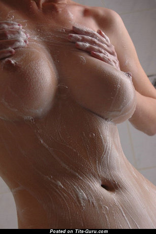 Wet nude amazing woman with medium natural tittys pic