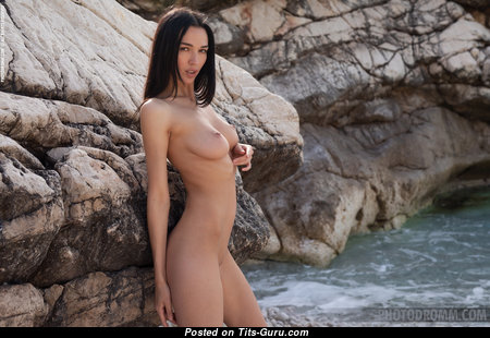 Anastasya B - Amazing Topless & Glamour Brunette Pornstar with Large Nipples on the Beach (Hd 18+ Picture)