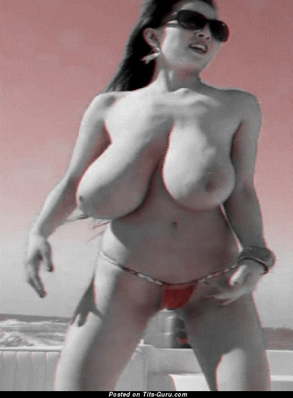 Image. Topless wonderful female with huge boobs gif