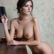 Hot lady with medium natural tittes photo