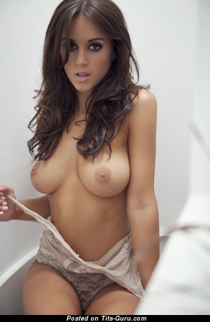 Topless brunette with medium natural tittes picture
