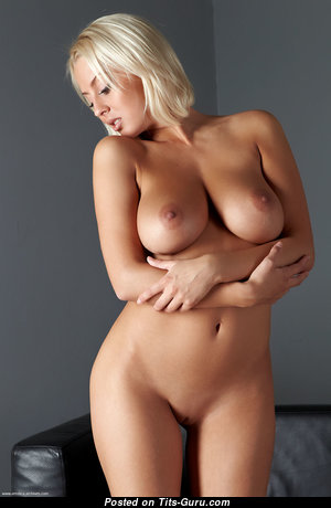 Magnificent Blonde with Magnificent Bald Medium Sized Titties (Hd 18+ Photo)