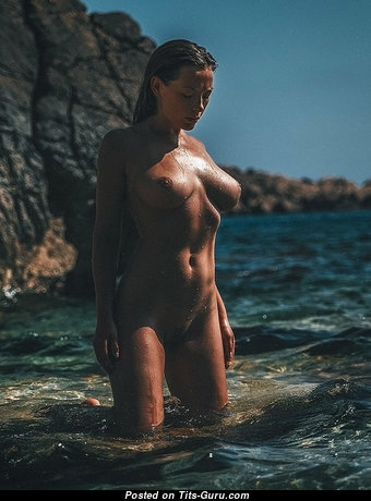 Olga Kobzar - Grand Undressed Russian Brunette Babe with Long Nipples on the Beach (18+ Photoshoot)