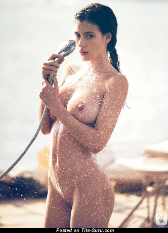 Alejandra Guilmant - Beautiful Wet Mexican Playboy Brunette Babe with Beautiful Nude Real D Size Boobie & Big Nipples (Hd 18+ Photo)