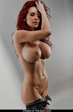 Image. Naked nice female with big fake breast photo