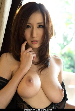 Julia Boin - Graceful Topless Japanese Brunette Pornstar with Graceful Bald Natural D Size Knockers in Panties is Undressing (Porn Photo)