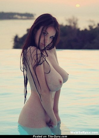 Tanya Song - Superb Wet Brunette Babe with Superb Bald Real Sizable Boobys on the Beach (Xxx Pix)