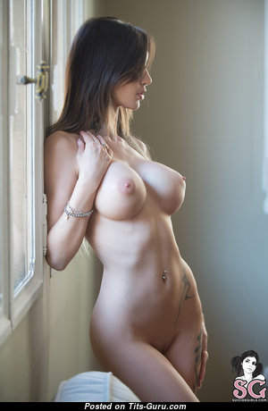 Marvelous Brunette with Perfect Naked C Size Tittes & Tattoo in High Heels (Hd Xxx Image)