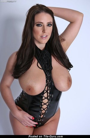 Angela White - sexy topless brunette with medium natural tots picture